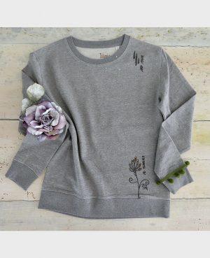 La Gatta Diva la mia maglietta felpa manica lunga no rain no flowers vegan green ecosostenibile cotone organico biologico