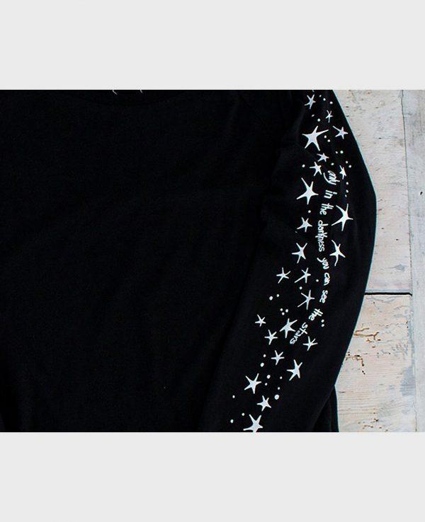 La Gatta Diva la mia maglietta t-shirt manica lunga only in the darkness vegan green ecosostenibile cotone organico bio Tencel Lyocell pelle sensibile
