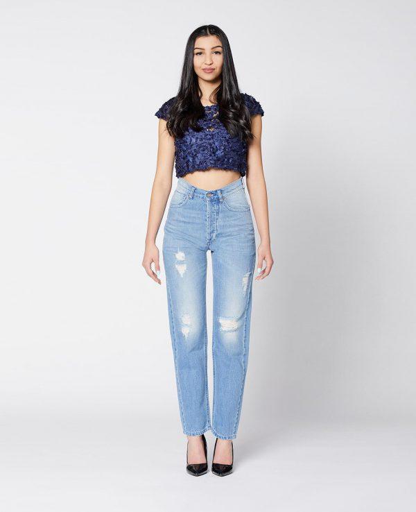 La Gatta Diva green ecosostenibile vegan parco jeans denim Fucsia Work fit blu cotone organico biologico