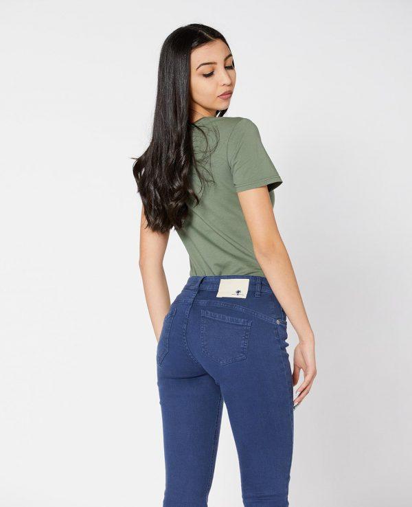 La Gatta Diva green ecosostenibile vegan parco jeans denim fresia skinny blu cotone organico biologico