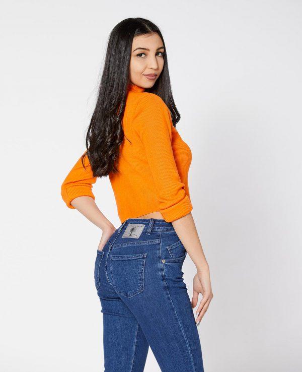 La Gatta Diva green ecosostenibile vegan parco jeans denim tulipano boot cut blu cotone organico biologico
