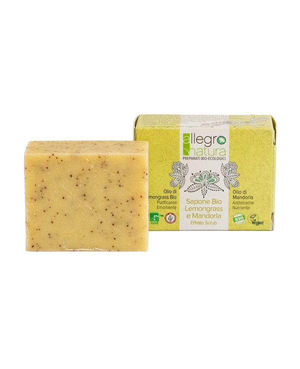 La Gatta Diva Allegro Natura cosmesi sostenibile bio green vegan sapone bio lemongrass e mandorla effetto scrub