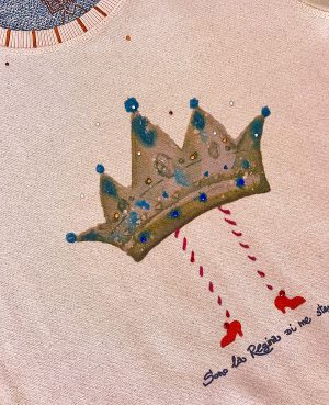 La Gatta Diva la mia maglietta felpa manica lunga la regina vegan green ecosostenibile cotone organico bio